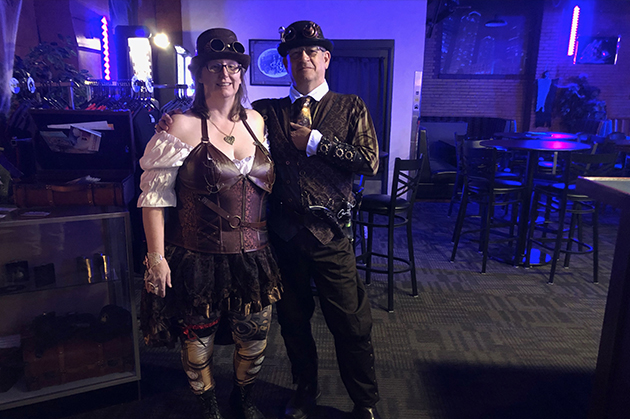 Jerry and Crystal in Steampunk styled attire